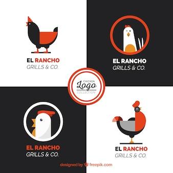 Sammlung von hühnerlogos mit orange details