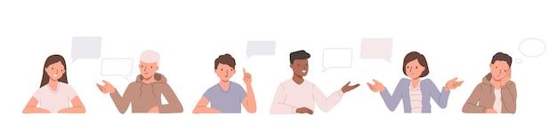 Sammlung von illustrationen mit personen und sprechblasen. satz zeichnungen mit männern und frauen, die etw sprechen und diskutieren. flache karikaturillustration