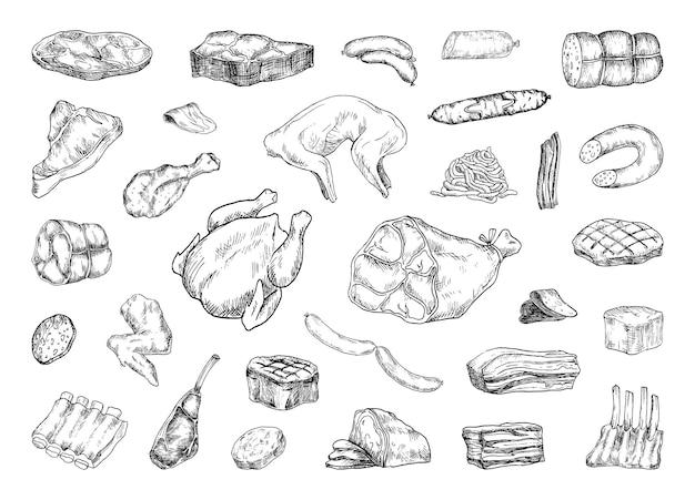 Sammlung von illustrationen von fleischprodukten im skizzenstil