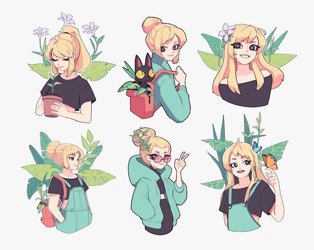 Sammlung von illustrationen von yong-mädchen im zusammenhang mit gartenblumen und sommervektor