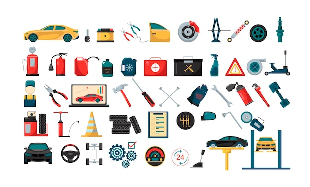 Sammlung von illustrationen zum autoservice