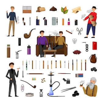 Sammlung von illustrationen zum thema rauchen