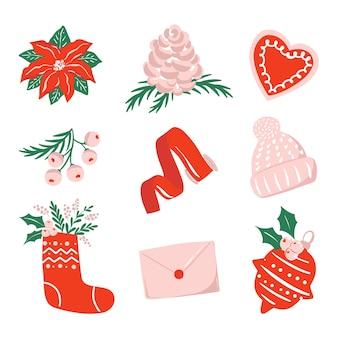 Sammlung von illustrationen zum thema weihnachten isoliert auf weißem hintergrund weihnachtszeit clipart