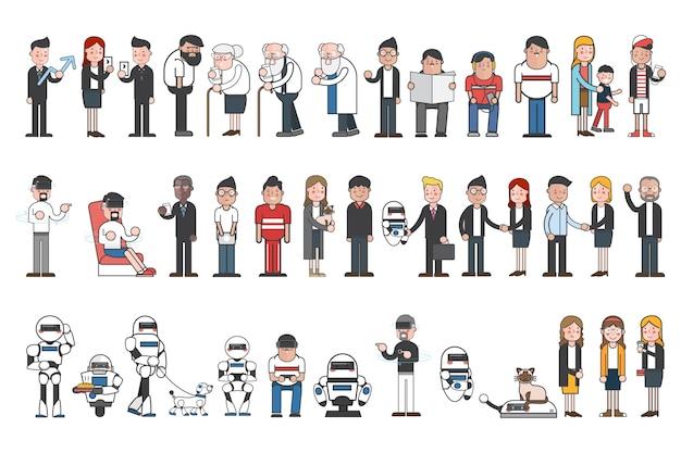 Sammlung von illustrierten menschen und robotern