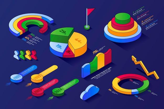 Sammlung von infografik-elementen mit isometrischem umriss