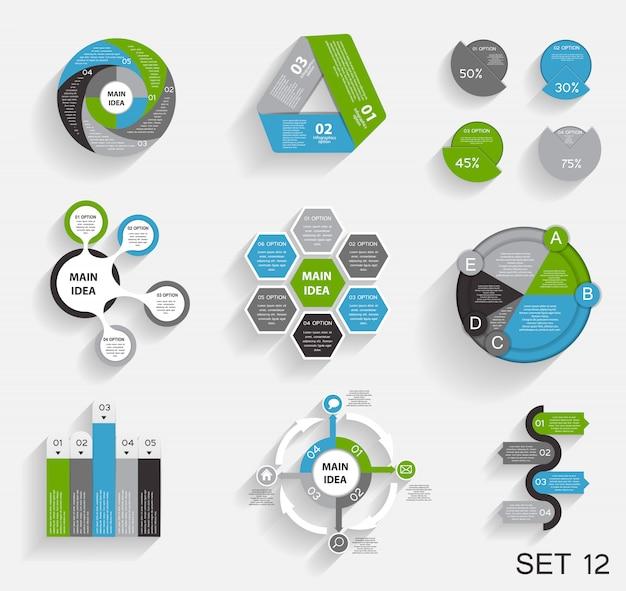 Sammlung von infografik-vorlagen für unternehmen