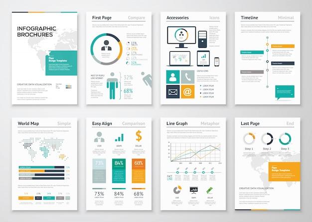 Sammlung von infografischen broschüre vektor-elemente für unternehmen