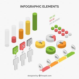 Sammlung von infografischen elementen im isometrischen stil