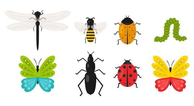 Sammlung von insekten auf weiß isoliert