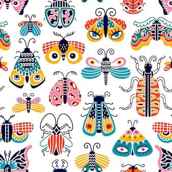 Sammlung von insekten. schmetterlinge, libellen und käfer lokalisiert auf weißem hintergrund. nahtloses muster