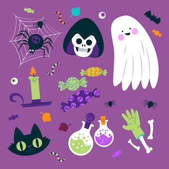 Sammlung von insekten und halloween-objekten