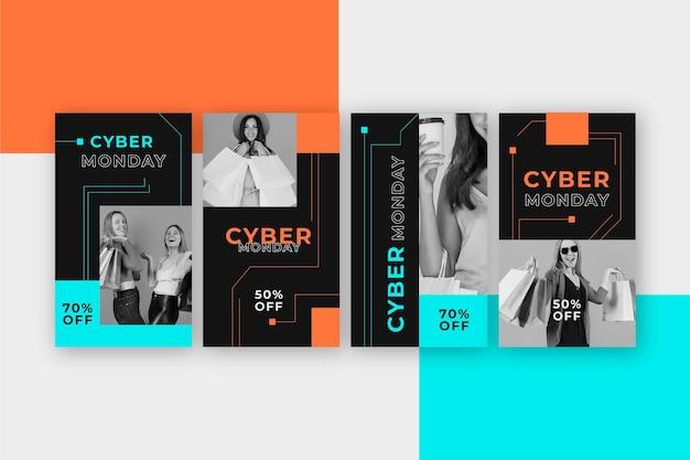 Sammlung von instagram-geschichten für das cyber-montag-event