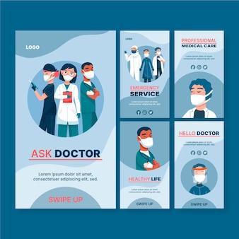 Sammlung von instagram-geschichten für das gesundheitswesen