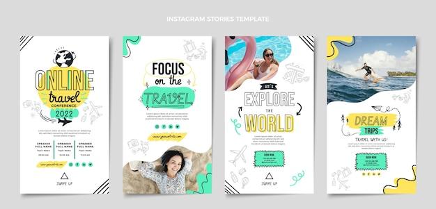 Sammlung von instagram-geschichten für flache reisen