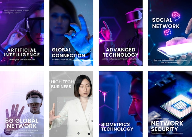 Sammlung von instagram-geschichten mit künstlicher intelligenz und technologiekonzept