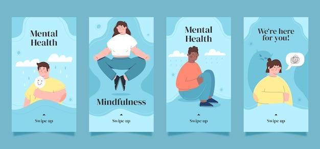 Sammlung von instagram-geschichten über psychische gesundheit