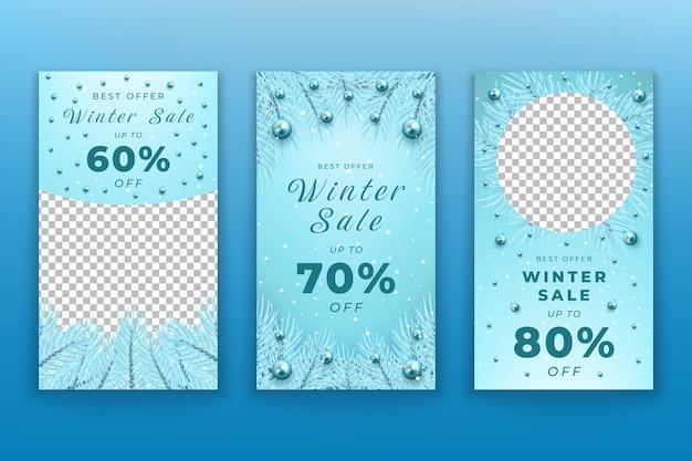 Sammlung von instagram-geschichten zum winter-weihnachtsverkauf