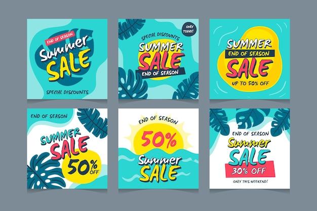 Sammlung von instagram-posts für den sommerschlussverkauf zum saisonende