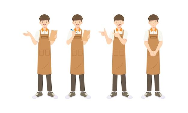 Sammlung von intelligenten kellner oder assistent in schürze uniform, cartoon maskottchen charakter in vielen pose zur illustration