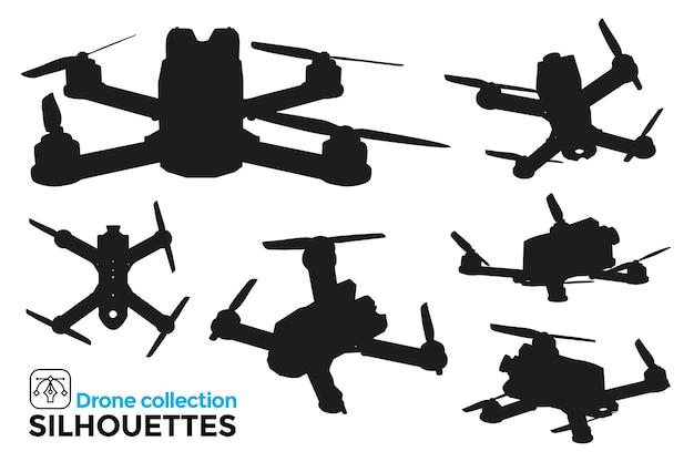 Sammlung von isolierten drohnen-silhouetten in verschiedenen ansichten. hohes detail. grafische ressourcen.
