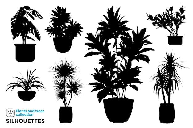 Sammlung von isolierten pflanzen- und baumschattenbildern in gartentöpfen