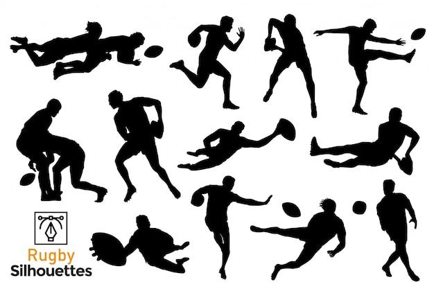 Sammlung von isolierten rugby-silhouetten. leute, die einen sport spielen. premium.