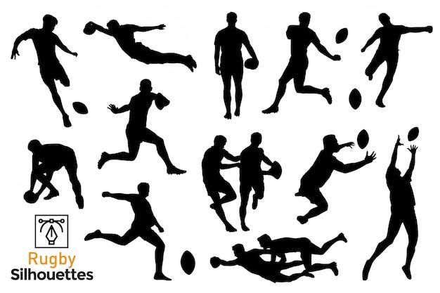 Sammlung von isolierten rugby-silhouetten. leute, die einen sport spielen.