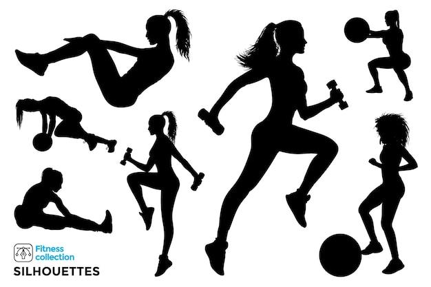 Sammlung von isolierten silhouetten von fitnessfrauen