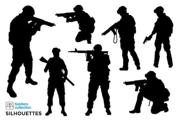 Sammlung von isolierten silhouetten von militär und soldaten Premium Vektoren