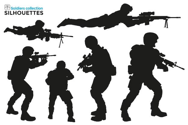 Sammlung von isolierten silhouetten von militärs bei taktischen operationen mit schusswaffen