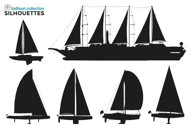 Sammlung von isolierten silhouetten von segelschiffen