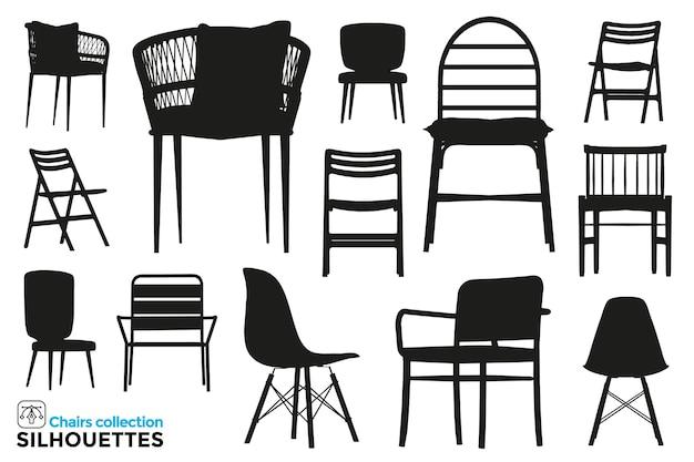 Sammlung von isolierten silhouetten von stühlen in verschiedenen ansichten. hohes detail. grafische ressourcen.