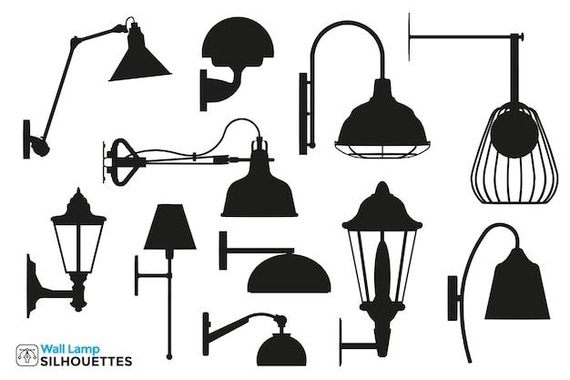 Sammlung von isolierten silhouetten von wandlampen in verschiedenen ansichten.
