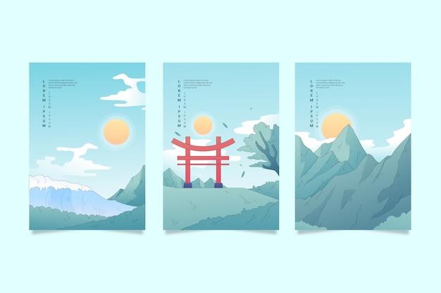 Sammlung von japanischen deckt minimalistisches design
