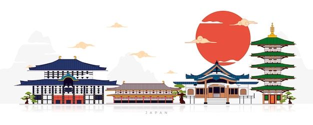 Sammlung von japanischen tempeln des flachen entwurfs