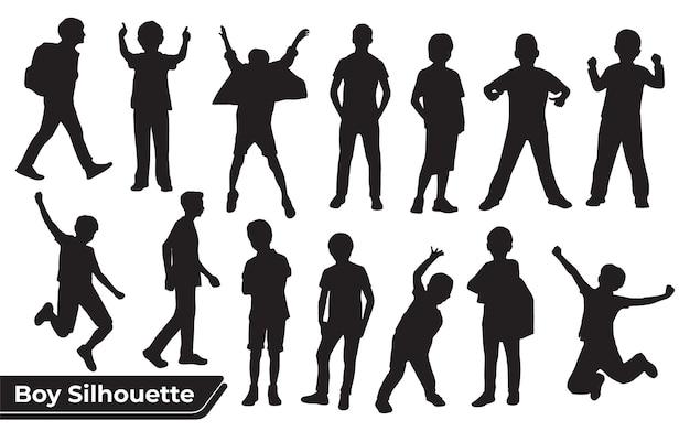 Sammlung von jungen- oder kindersilhouetten in verschiedenen posen