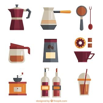 Sammlung von kaffee objekte in flaches design