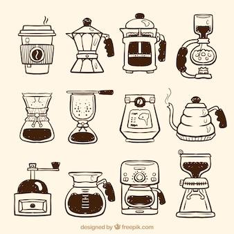 Sammlung von kaffee skizzen