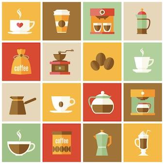 Sammlung von kaffee-symbole in flaches design