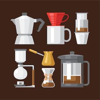 Sammlung von kaffeebrühgeräten