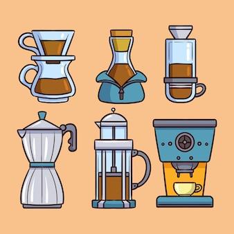 Sammlung von kaffeebrühmethoden mit flachem design