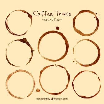 Sammlung von kaffeeflecken