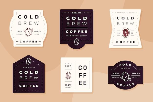 Sammlung von kalt gebrühten kaffeeetiketten