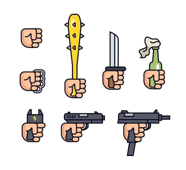Sammlung von kalten waffen und schusswaffen