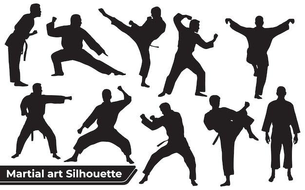 Sammlung von kampfkunst-silhouetten in verschiedenen posen