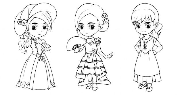 Sammlung von karikaturmädchen, das englisches spanisches und italienisches kostüm trägt, das für malbuch verwendet wird
