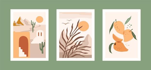 Sammlung von karten mit blättern, früchten und landschaft