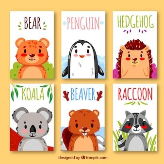 Sammlung von karten mit exotischen tieren