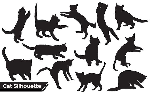 Sammlung von katzen silhouette in verschiedenen positionen