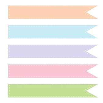Sammlung von kind ton farben bänder mit strichlinie